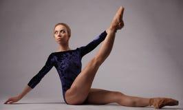 Bella ballerina con l'ente perfetto in attrezzatura blu sul fondo grigio dello studio Fotografia Stock
