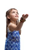 Bella bambina all'indicatore luminoso indiano dell'introito del costume Fotografia Stock Libera da Diritti