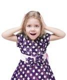 Bella bambina con capelli biondi sorpresa isolata Fotografia Stock