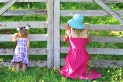 Bella bambina con la sua madre sul natur Fotografia Stock