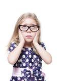 Bella bambina triste in vetri isolati Fotografia Stock Libera da Diritti