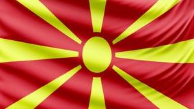 Bella bandiera realistica 4k della Macedonia archivi video