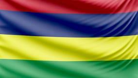 Bella bandiera realistica 4k delle Mauritius stock footage