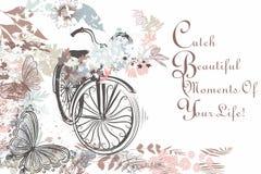 Bella bicicletta disegnata a mano con le farfalle e rustico floreale Fotografia Stock