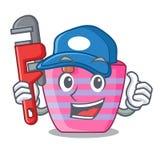 Bella borsa femminile della spiaggia dell'idraulico sulla mascotte illustrazione di stock