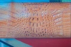 Bella borsa marrone della pelle di coccodrillo da vendere nel lusso Immagine Stock