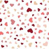 Bella caduta dei cuori dei coriandoli Cartolina d'auguri, manifesto Coriandoli colorati del cuore per le feste delle donne illustrazione di stock