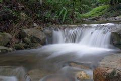 Bella caduta dell'acqua in foresta profonda Immagini Stock Libere da Diritti