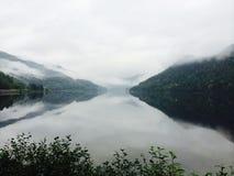 Bella calma di estate della nebbia della natura dello specchio Fotografia Stock