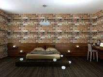 Bella camera da letto in sottotetto Fotografie Stock Libere da Diritti