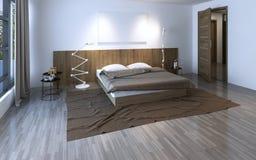 Bella camera da letto spaziosa Fotografie Stock Libere da Diritti