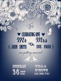 Bella carta con una corona floreale del giardino d'annata Fotografie Stock