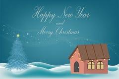 Bella carta dell'insegna con l'albero di Natale su neve bianca su un fondo blu con una ghirlanda di legno delle luci e della casa immagini stock libere da diritti
