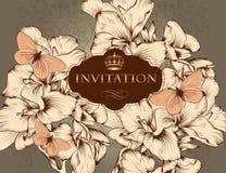 Bella carta dell'invito di nozze di vettore nello stile d'annata Immagini Stock