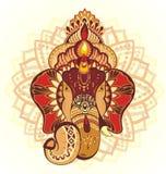 Bella carta dell'ornamento con Dio Ganesha royalty illustrazione gratis