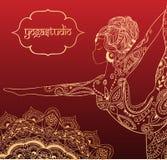 Bella carta dell'ornamento con yoga di vettore Immagini Stock Libere da Diritti