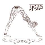 Bella carta dell'ornamento con yoga di vettore Immagine Stock