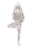 Bella carta dell'ornamento con yoga di vettore Immagini Stock