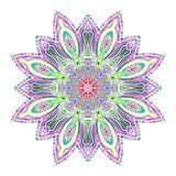 Bella carta femminile orientale di colore dell'ornamento con la mandala con le linee bianche Elementi decorativi dell'annata Dise Immagini Stock Libere da Diritti