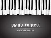 Bella carta monocromatica dell'invito di concerto del piano con la tastiera di piano stilizzata semplice su fondo nero royalty illustrazione gratis
