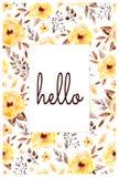 Bella carta pronta dei fiori e delle foglie gialli Fotografia Stock