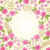 Bella cartolina d'auguri con la corona floreale Royalty Illustrazione gratis