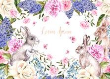 Bella cartolina d'auguri dell'acquerello con i coniglietti di pasqua Con i fiori delle rose, dei lillà, della peonia e delle farf illustrazione vettoriale