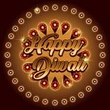 Bella cartolina d'auguri per il festival della celebrazione di diwali con il diya d'attaccatura decorato illustrazione di stock