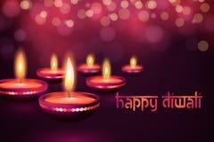 Bella cartolina d'auguri per l'illustrazione felice indù del fondo di festival di diwali di Diwali di festival di comunità Immagine Stock