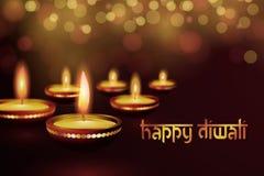 Bella cartolina d'auguri per l'illustrazione felice indù del fondo di festival di diwali di Diwali di festival di comunità Immagine Stock Libera da Diritti