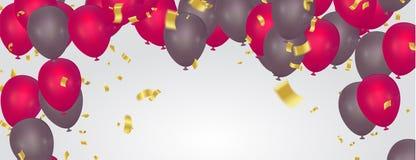 Bella cartolina d'auguri realistica di vettore di buon compleanno dei palloni del partito Siete invitato ad un partito royalty illustrazione gratis