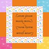 Bella cartolina d'auguri Struttura luminosa con i punti variopinti ed i modelli floreali illustrazione di stock