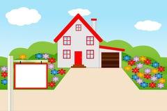 Bella casa con un giardino di fioritura Immagine Stock
