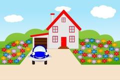Bella casa con un giardino di fioritura Immagine Stock Libera da Diritti