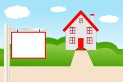 Bella casa con un tetto rosso Immagini Stock Libere da Diritti