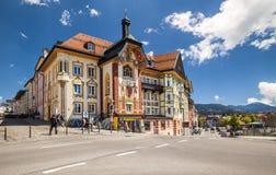 Bella casa dipinta in cattivo Toelz, Baviera Fotografia Stock Libera da Diritti