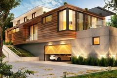 Bella casa moderna con un grande garage per le automobili immagine stock libera da diritti