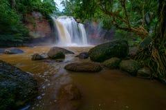 Bella cascata È con un grandi albero e verde e beaut Fotografia Stock