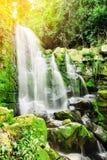 Bella cascata della foresta profonda nella foresta di autunno con effetto della luce del sole Immagini Stock