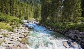 Bella cascata Krimml (Austria, Tirolo) della montagna delle alpi Fotografia Stock Libera da Diritti