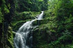 Bella cascata nelle montagne sul sud della Polonia Immagine Stock Libera da Diritti