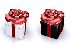 Bella casella con un regalo con un arco Fotografia Stock