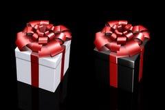 Bella casella con un regalo con un arco Immagini Stock