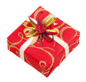 Bella casella rossa con nastro adesivo e cuore Immagine Stock Libera da Diritti
