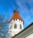 Bella chiesa bianca con l'alta torre in Thun, Svizzera Fotografia Stock Libera da Diritti