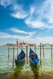 Bella chiesa di San Giorgio Maggiore e gondole, Venezia, I Fotografia Stock Libera da Diritti