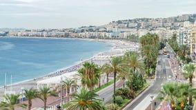 Bella città panoramica di vista aerea Nizza di timelapse, Francia Mar Mediterraneo, baia degli angeli archivi video