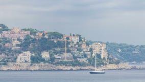 Bella città panoramica di vista aerea Nizza di timelapse, Francia Mar Mediterraneo, baia degli angeli stock footage
