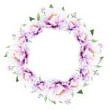 Bella corona bianca della peonia Mazzo dei fiori Stampa floreale Disegno dell'indicatore royalty illustrazione gratis