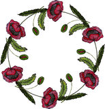 Bella corona del papavero dell'acquerello Fotografie Stock Libere da Diritti